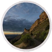 Round Beach Towel featuring the photograph Watching The Sun Fade by Margaret Pitcher