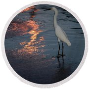 Round Beach Towel featuring the photograph Watching The Sunset by Melissa Lane