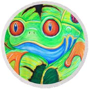 Watching You Red Eyed Tree Frog Round Beach Towel