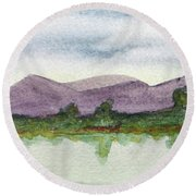 Water And Distant Hills Round Beach Towel by R Kyllo