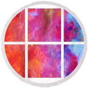 Water And Fire Abstract Round Beach Towel