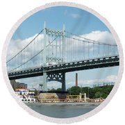 Water And Ship Under The Bridge Round Beach Towel