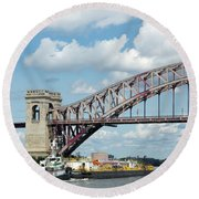 Hell Gate Bridge And Barge Round Beach Towel