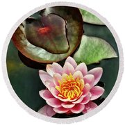 Water And The Lily Round Beach Towel