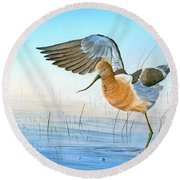 Round Beach Towel featuring the painting Water Ballet by Mike Brown