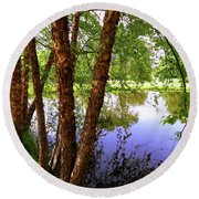 Water Birch Round Beach Towel