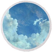 Round Beach Towel featuring the photograph Water Clouds by Robin Regan