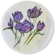 Water Color Pencil Exercise Round Beach Towel