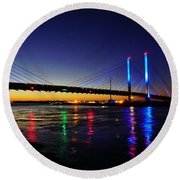 Round Beach Towel featuring the photograph Water Colors by Ed Sweeney