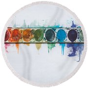 Water Colors Round Beach Towel