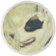 Water Colour Art Of An Adorable Puppy Dog Round Beach Towel