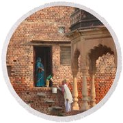 Round Beach Towel featuring the photograph Water Delivery In Vrindavan by Jean luc Comperat