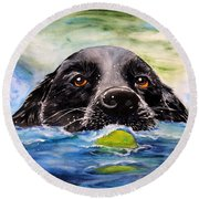 Water Dog Round Beach Towel