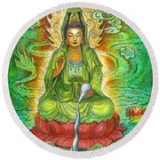 Water Dragon Kuan Yin Round Beach Towel by Sue Halstenberg