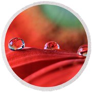 Water Drop Reflections Round Beach Towel
