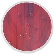 Water Drops On Red Round Beach Towel by T Fry-Green