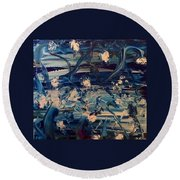 Round Beach Towel featuring the painting Water Garden Beyond Flight by Kicking Bear Productions