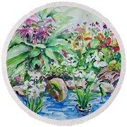 Water Garden Round Beach Towel