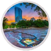 Water Gardens Sunset Round Beach Towel