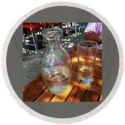 Water Glass And Pitcher Round Beach Towel by Angela Annas