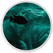 Water Horse Ballet Round Beach Towel