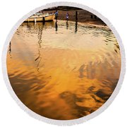 Round Beach Towel featuring the photograph Water Into Gold by Ronda Broatch