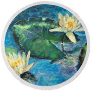 Round Beach Towel featuring the painting Water Lilies by Ana Maria Edulescu