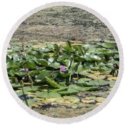 Water Lilies At Giverny - 5 Round Beach Towel