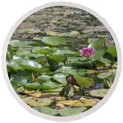 Water Lilies At Giverny Round Beach Towel