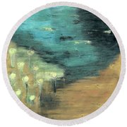 Round Beach Towel featuring the painting Water Lilies At The Pond by Michal Mitak Mahgerefteh