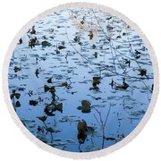Water Lilies Autumn Song Round Beach Towel
