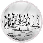Water Lilies Round Beach Towel by Catherine Alfidi