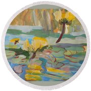 Round Beach Towel featuring the painting Water Lilies by Francine Frank