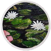 Water Lilies I Round Beach Towel by Marilyn Zalatan