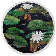 Round Beach Towel featuring the painting water lilies II by Marilyn Zalatan