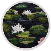 Round Beach Towel featuring the painting Water Lilies IIi by Marilyn Zalatan