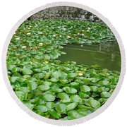 Water Lilies In The Moat Round Beach Towel by Susan Lafleur