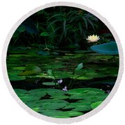 Water Lilies In The Pond Round Beach Towel