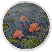 Water Lilies Lounge Round Beach Towel by Felicia Tica