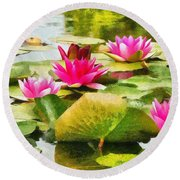 Round Beach Towel featuring the painting Water Lilies by Maciek Froncisz