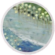 Round Beach Towel featuring the painting Water Lilies by Michal Mitak Mahgerefteh
