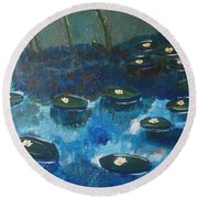 Water Lillies Round Beach Towel