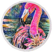 Water Lily And Flamingo Round Beach Towel