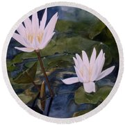 Round Beach Towel featuring the painting Water Lily At Longwood Gardens by Laurie Rohner