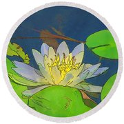 Round Beach Towel featuring the digital art Water Lily by Maciek Froncisz