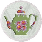 Water Lily Pattern Teapot Round Beach Towel