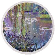 Water Lily Pond Giverny Round Beach Towel