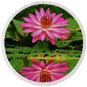 Hot Pink Water Lily Reflection Round Beach Towel by Larry Nieland