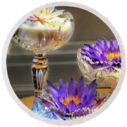 Water-lilys On Table  Round Beach Towel