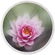 Water Lotus Flower Round Beach Towel
